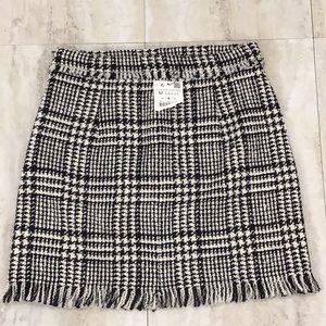 Zara Plaid Tweed Mini Skirt Fringe